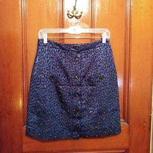 NWOT Banana Republic 4 Button Satin Leopard Skirt